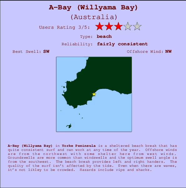 A-Bay (Willyama Bay) break location map and break info