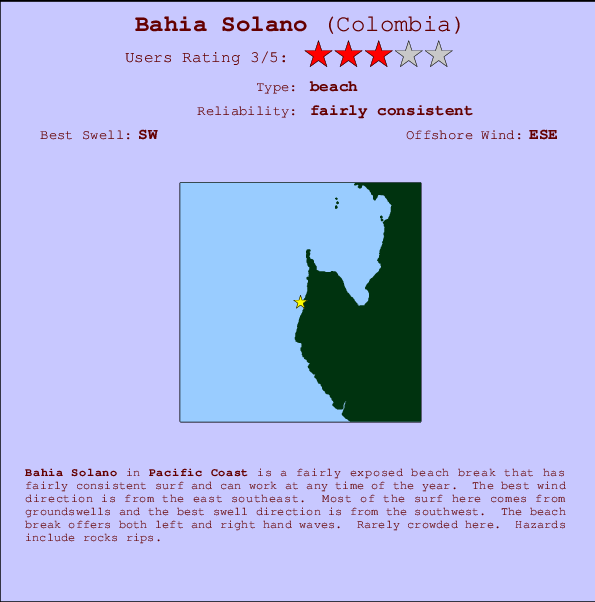 Bahia Solano break location map and break info