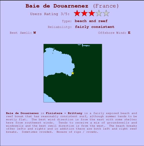 Baie de Douarnenez break location map and break info