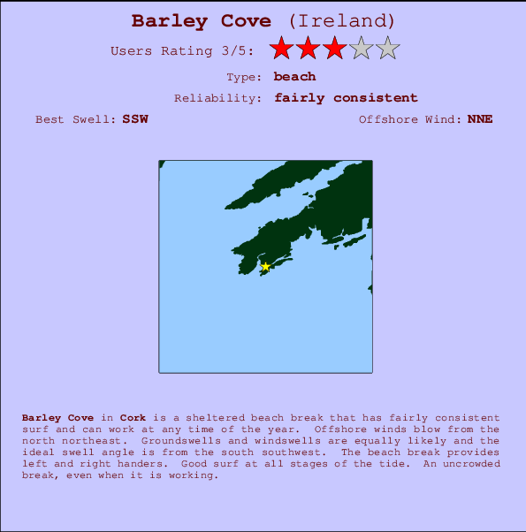 Barley Cove break location map and break info