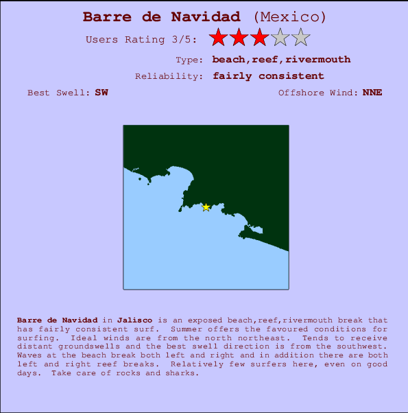 Barre de Navidad break location map and break info
