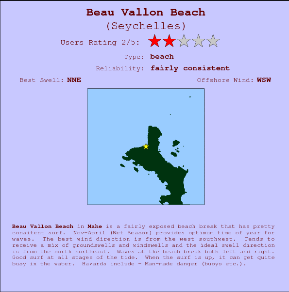 Beau Vallon Beach break location map and break info