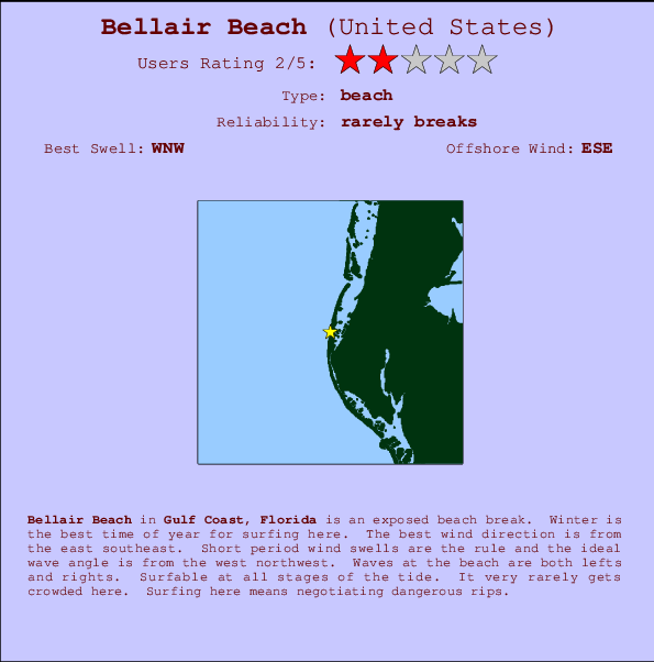 Bellair Beach break location map and break info