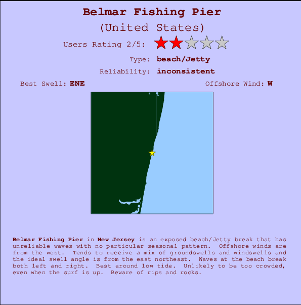 Belmar Fishing Pier break location map and break info
