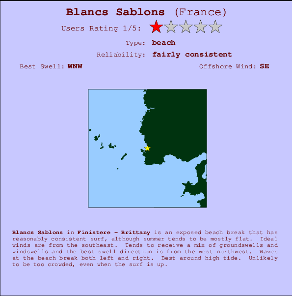 Blancs Sablons break location map and break info