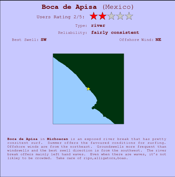 Boca de Apisa break location map and break info