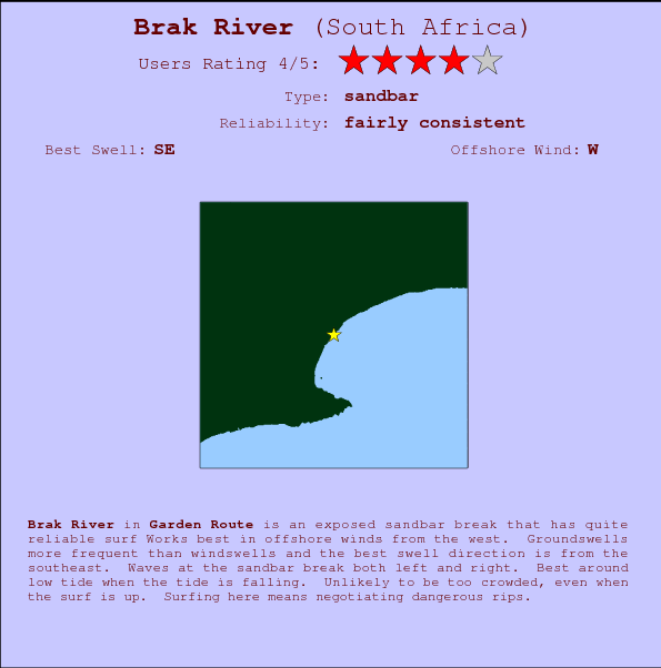Brak River break location map and break info