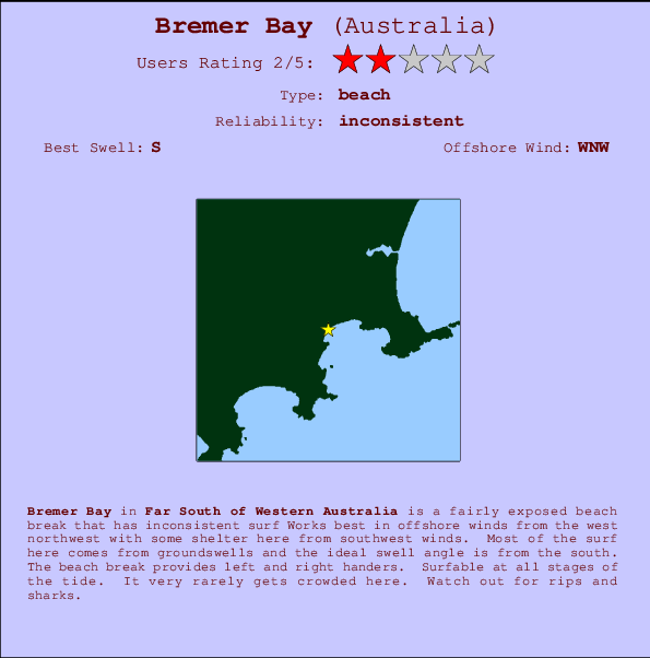 Bremer Bay break location map and break info
