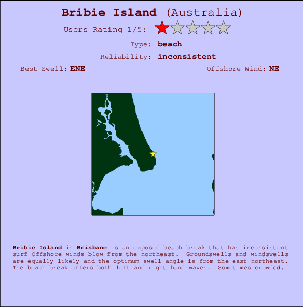 Bribie Island break location map and break info