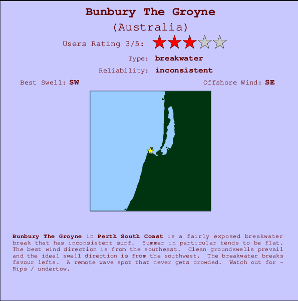Bunbury The Groyne break location map and break info