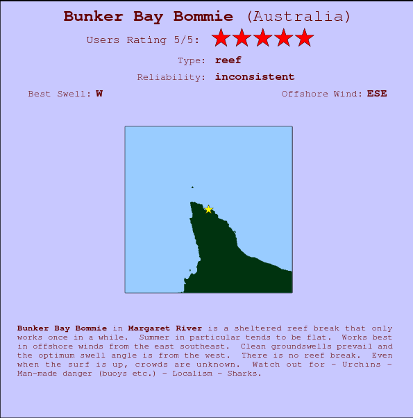 Bunker Bay Bommie break location map and break info