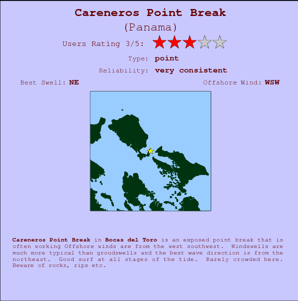 Careneros Point Break break location map and break info