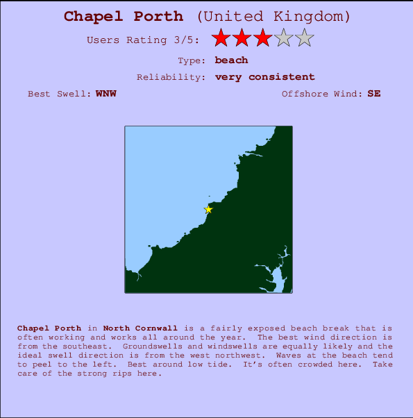 Chapel Porth break location map and break info