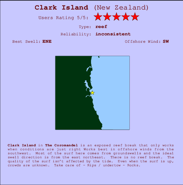 Clark Island break location map and break info