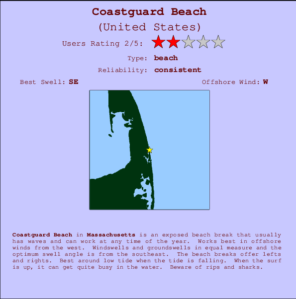 Coastguard Beach break location map and break info