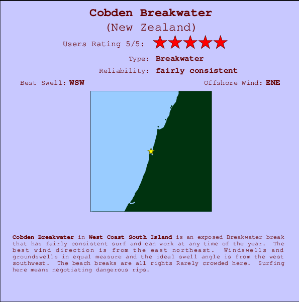 Cobden Breakwater break location map and break info