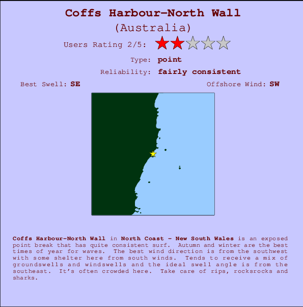 Coffs Harbour-North Wall break location map and break info