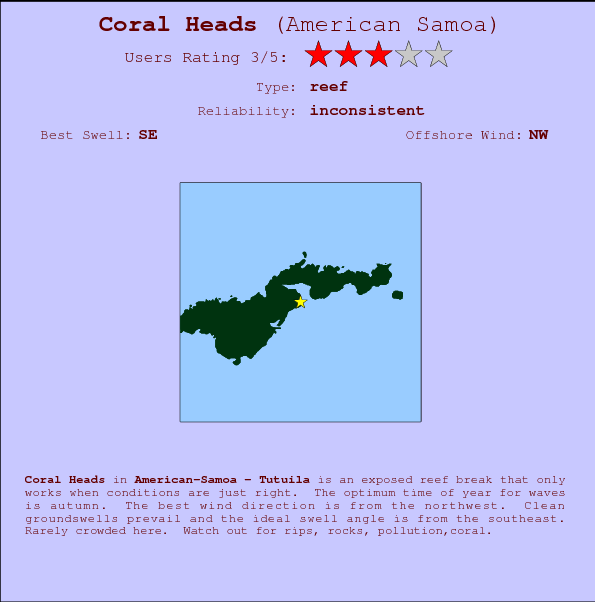 Coral Heads break location map and break info