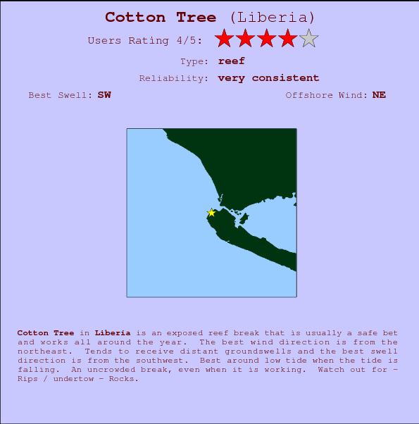 Cotton Tree break location map and break info