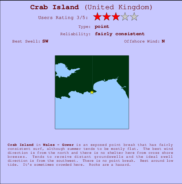Crab Island break location map and break info