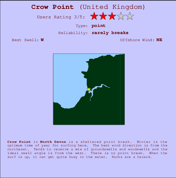 Crow Point break location map and break info