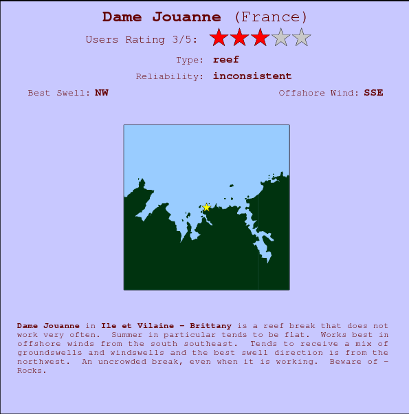 Dame Jouanne break location map and break info