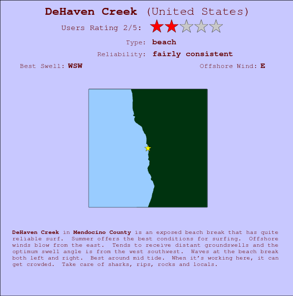 DeHaven Creek break location map and break info