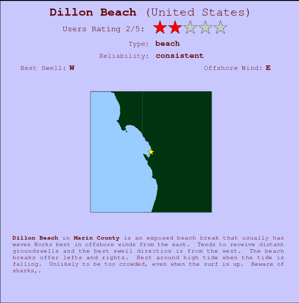 Dillon Beach break location map and break info