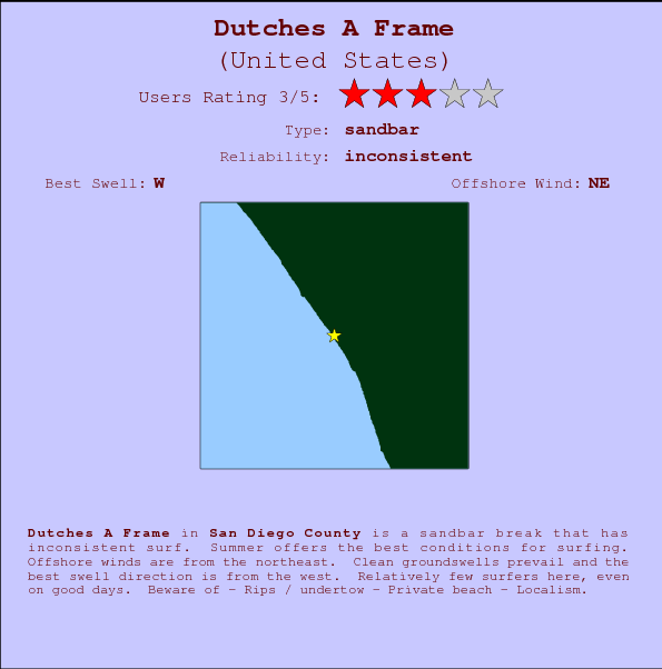 Dutches A Frame break location map and break info