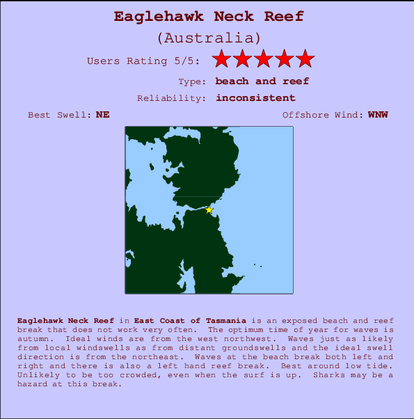 Eaglehawk Neck Reef break location map and break info