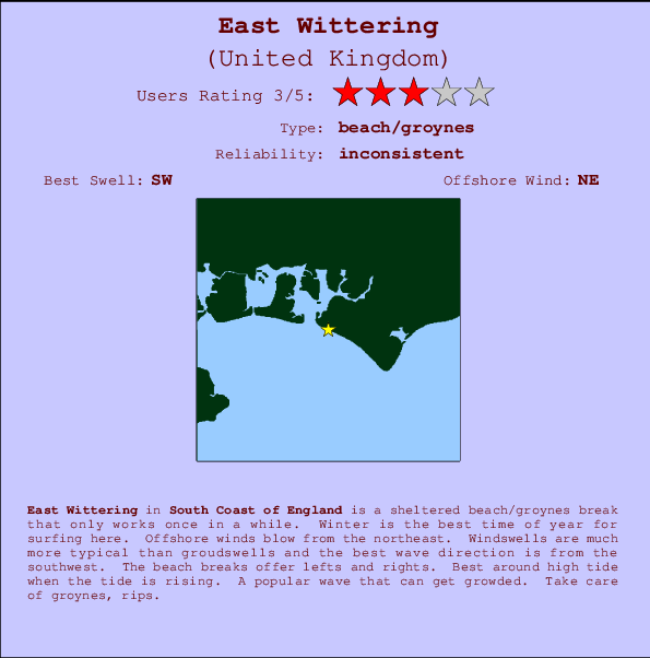 East Wittering break location map and break info