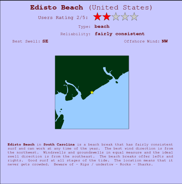 Edisto Beach break location map and break info