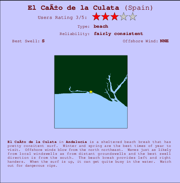 El Caño de la Culata break location map and break info