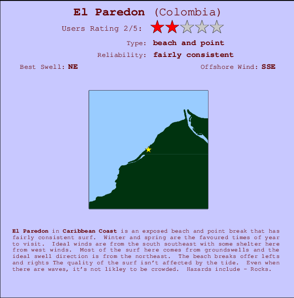 El Paredon break location map and break info