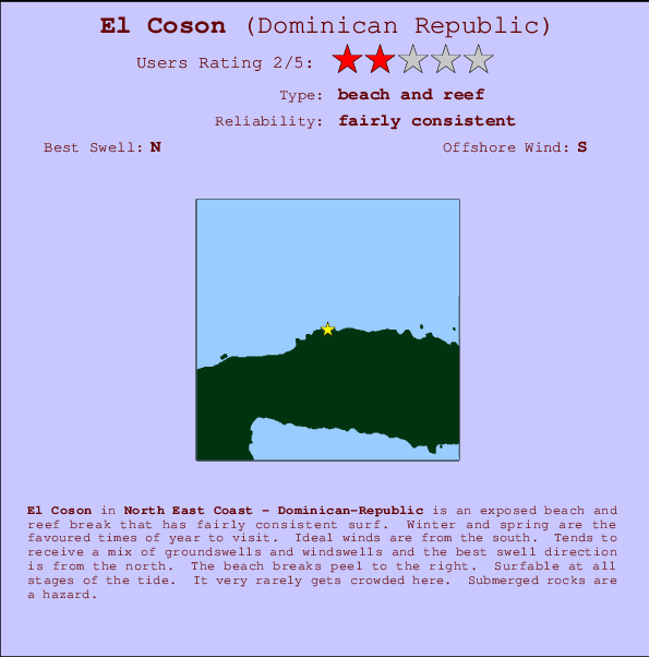 El Coson break location map and break info