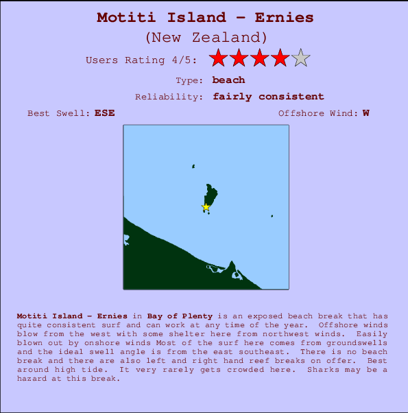 Motiti Island - Ernies break location map and break info