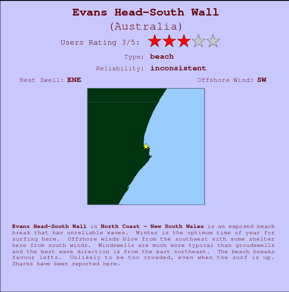 Evans Head-South Wall break location map and break info