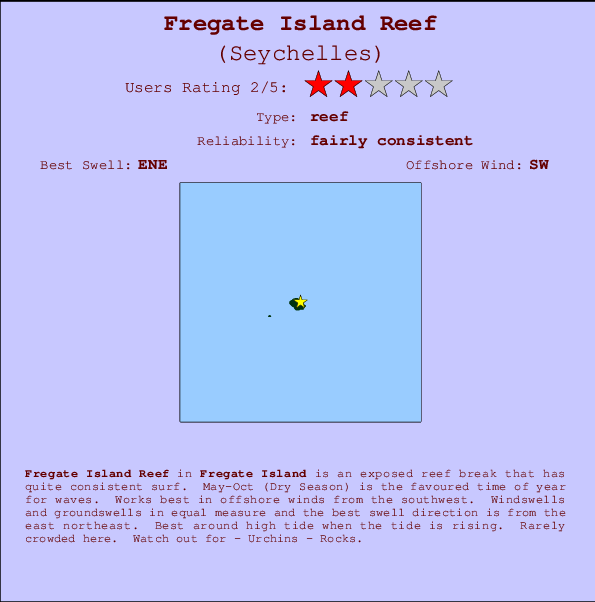 Fregate Island Reef break location map and break info
