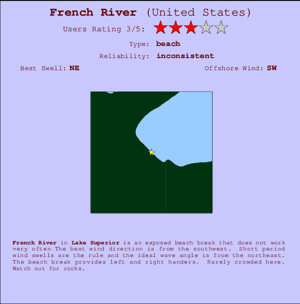 French River break location map and break info