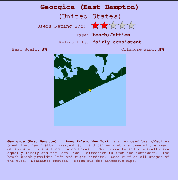 Georgica (East Hampton) break location map and break info
