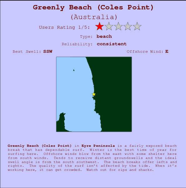 Greenly Beach (Coles Point) break location map and break info