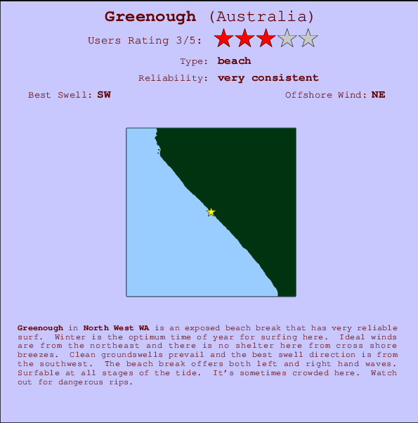 Greenough break location map and break info