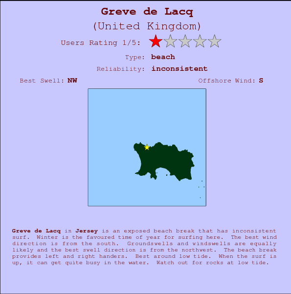 Greve de Lacq break location map and break info