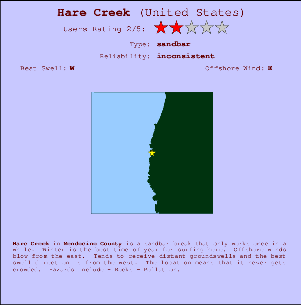 Hare Creek break location map and break info