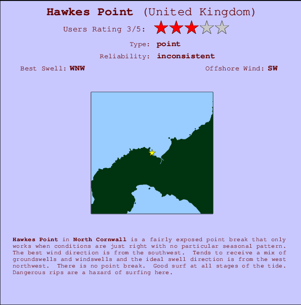 Hawkes Point break location map and break info