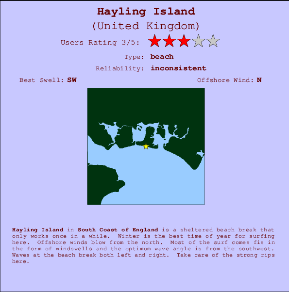 Hayling Island break location map and break info