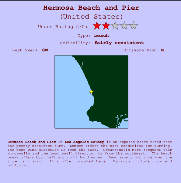 Hermosa Beach and Pier break location map and break info
