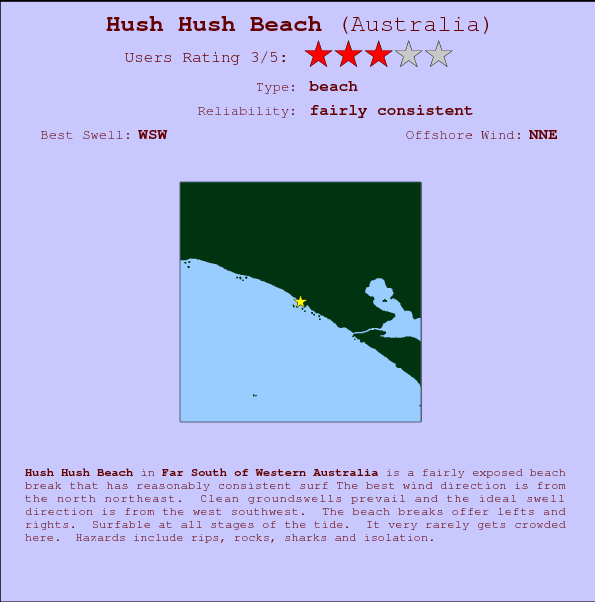 Hush Hush Beach break location map and break info