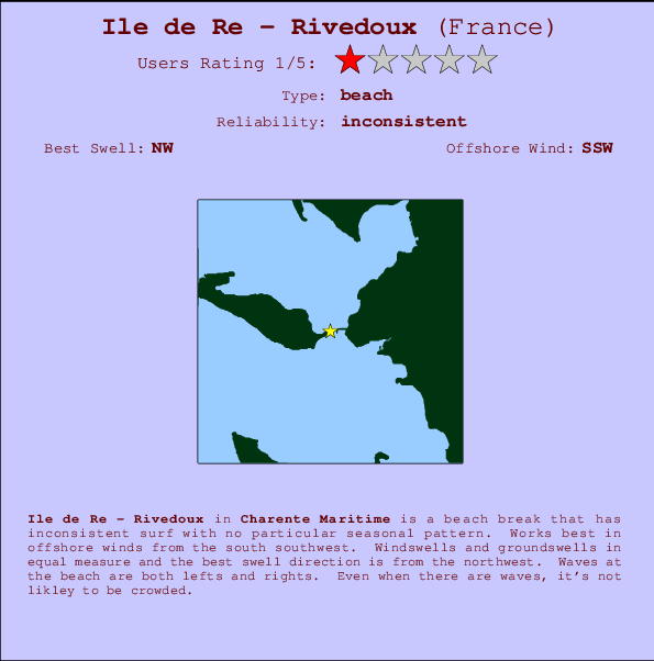 Ile de Re - Rivedoux break location map and break info