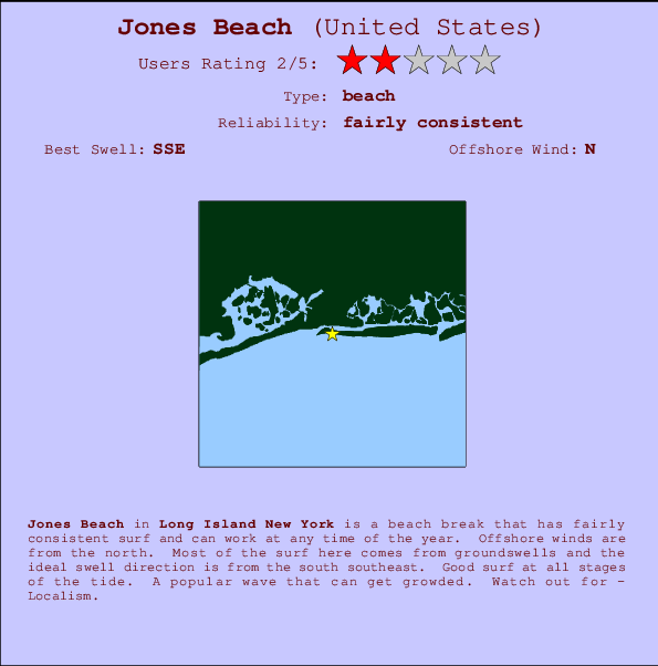 Jones Beach break location map and break info